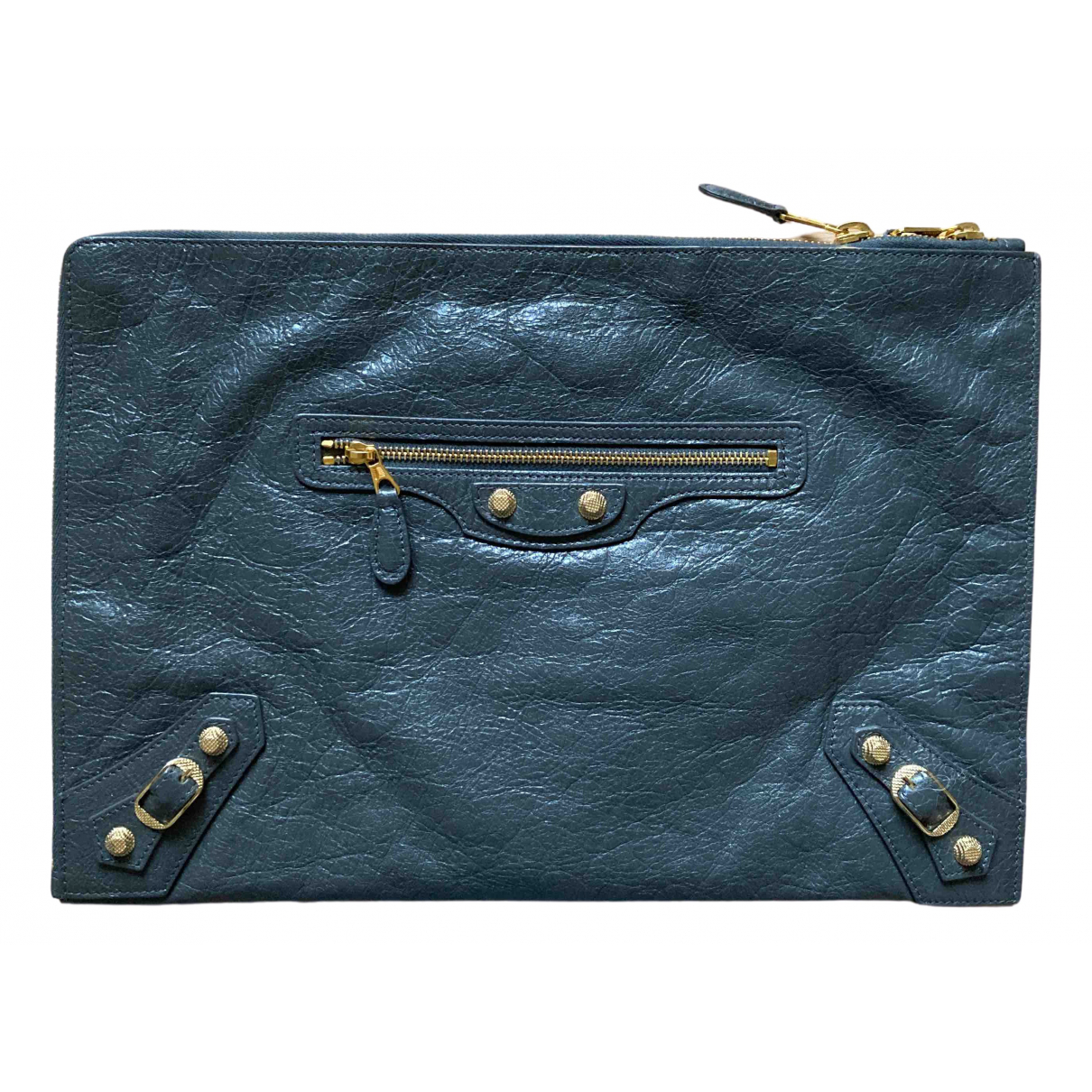 Balenciaga City Anthracite Leather Clutch bag for Women \N