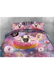 Puppy Dog and Doughnut Galaxy Printing Cotton 4-Piece Bedding Sets/Duvet Covers Wear-resistant Endurable Skin-friendly All-Season