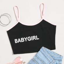 Letter Graphic Crop Cami Top