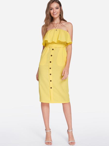Yoins Yellow Self-tie Design Strapless Midi Dress
