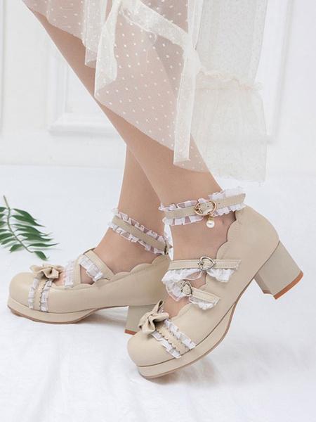 Milanoo Sweet Lolita Footwear Bows Ruffles PU Leather Chunky Heel Lolita Pumps