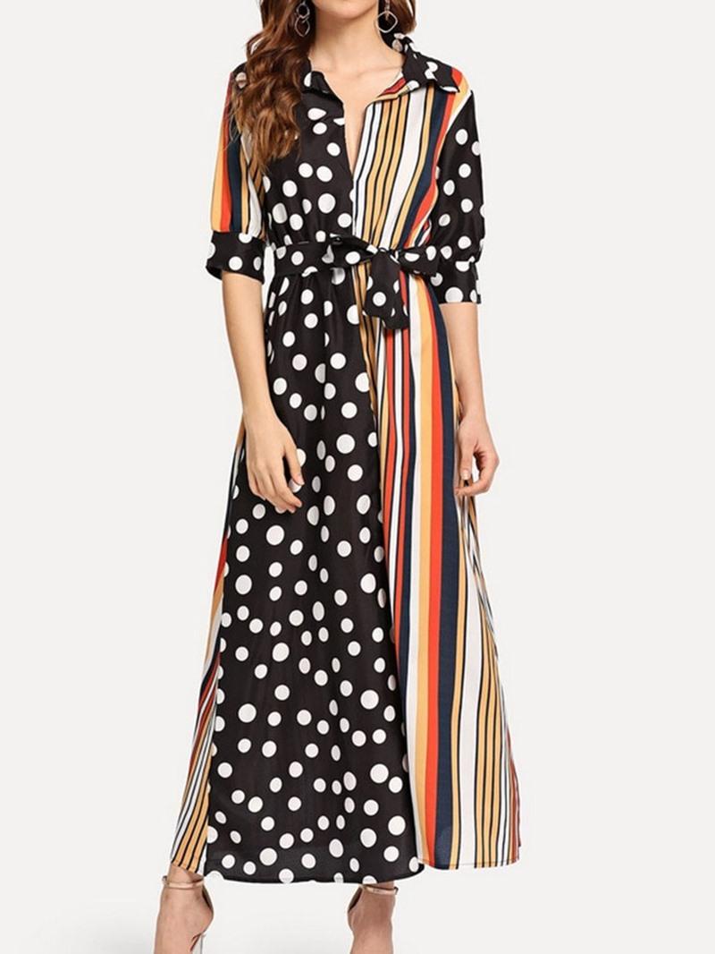 Ericdress Polka Dots Striped Lapel Half Sleeve Patchwork Mid Waist Dress