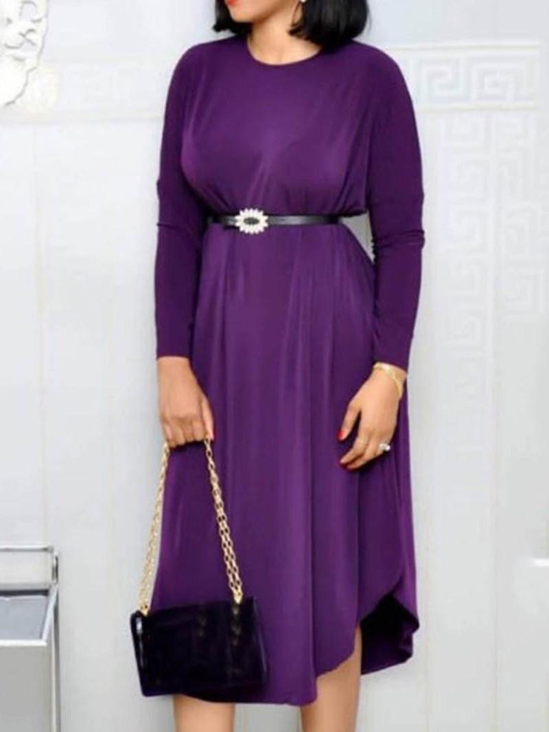 Ericdress Round Neck Asymmetrical Regular Plain Dress(Without Waistband)