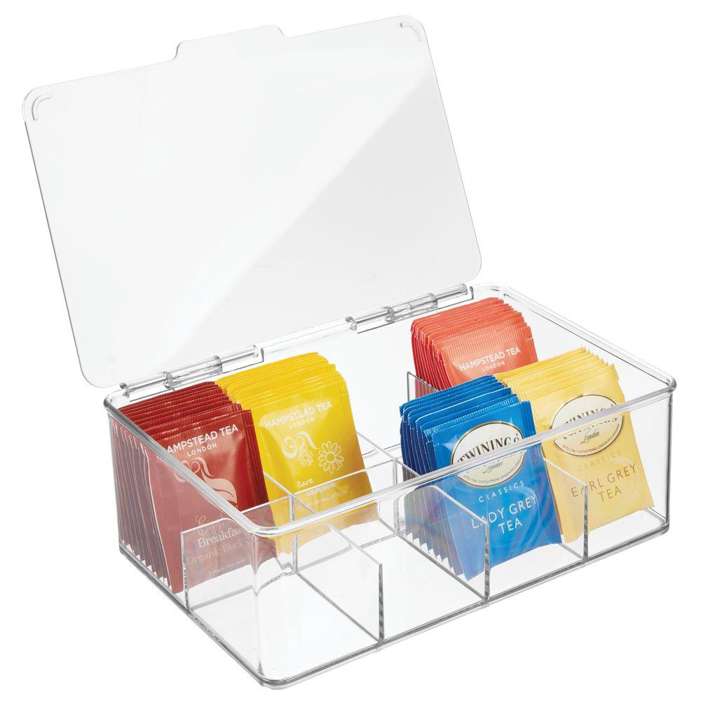 mDesign Plastic Tea Bag-Holder and Condiment Accessory Organizer Bo in Clear, 7.25