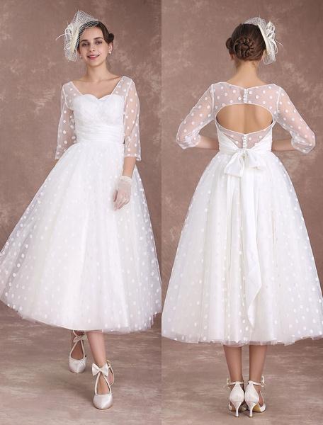 Milanoo Vintage Wedding Dress Short 1950's Bridal Dresses Ivory Long Sleeve Open Back Polka Dot Ribbon Sash Wedding Reception Dress