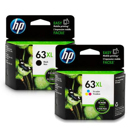 HP63XL F6U64AN F6U63AN cartouche d'encre originale combo noire et tri-couleur haute capacité
