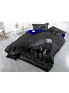 Black Horse Wear-resistant Breathable High Quality 60s Cotton 4-Piece 3D Bedding Sets