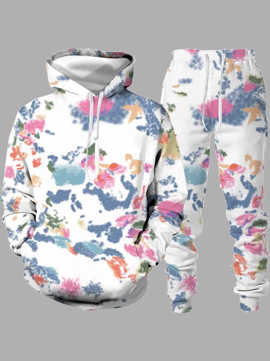 LW Lovely Trendy Hooded Collar Floral Print Multicolor Men Two-piece Pants Set