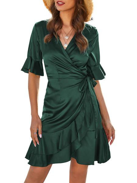 Milanoo Summer Dresses Green V Neck Satin Like Wrap Dress
