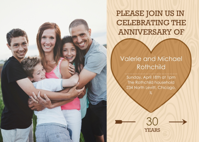 Anniversary 5x7 Folded Cards, Standard Cardstock 85lb, Card & Stationery -Carved in Wood Anniversary