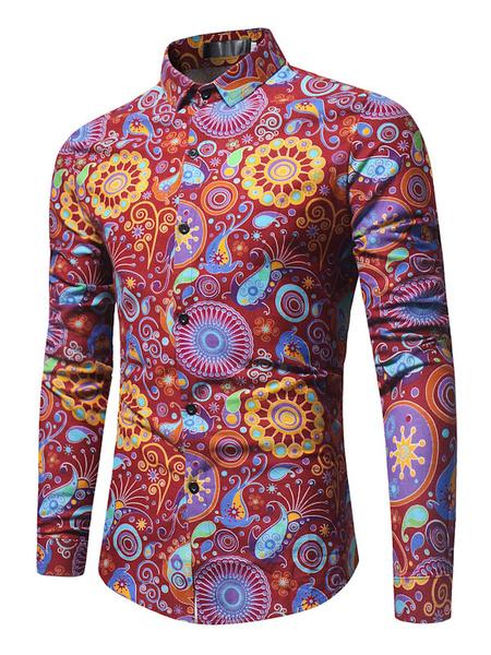 Milanoo Men Casual Shirt Floral Printed Shirt Turndown Collar Long Sleeve Cotton Shirt