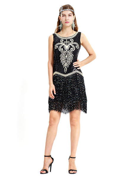 Milanoo Black Flapper Dress Fringed Sequined Women 1920s Great Gatsby Retro Costume 20s Party Dress