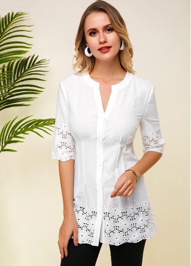 Lace Panel Half Sleeve White Blouse - M