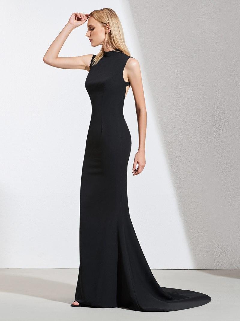 Ericdress Mock Neck Backless Mermaid Black Evening Dress