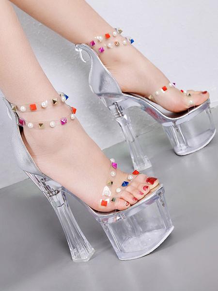 Milanoo Sexy Sandals For Woman Transparent PU Leather Square Toe Platform Sandals