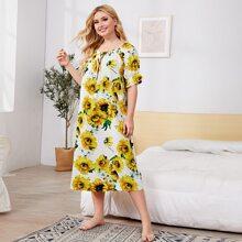 Plus Sunflower Print Tie Front Ruffle Trim Nightdress