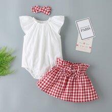 Baby Girl Bodysuit & Paperbag Gingham Skirt & Headband