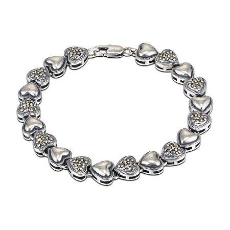 Sparkle Allure Marcasite Link Heart Link Bracelet, One Size , No Color Family