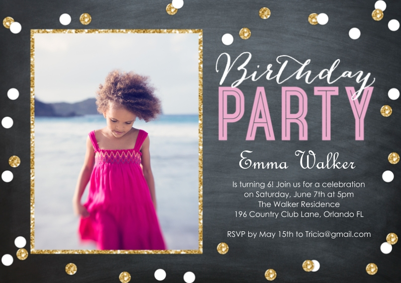 Birthday Party Invites 5x7 Cards, Premium Cardstock 120lb with Elegant Corners, Card & Stationery -Birthday Party Confetti