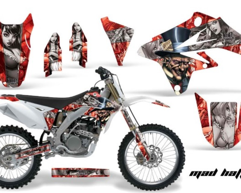 AMR Racing Dirt Bike Graphics Kit Decal Sticker Wrap For Suzuki RMZ250 2007-2009áHATTER SILVER RED