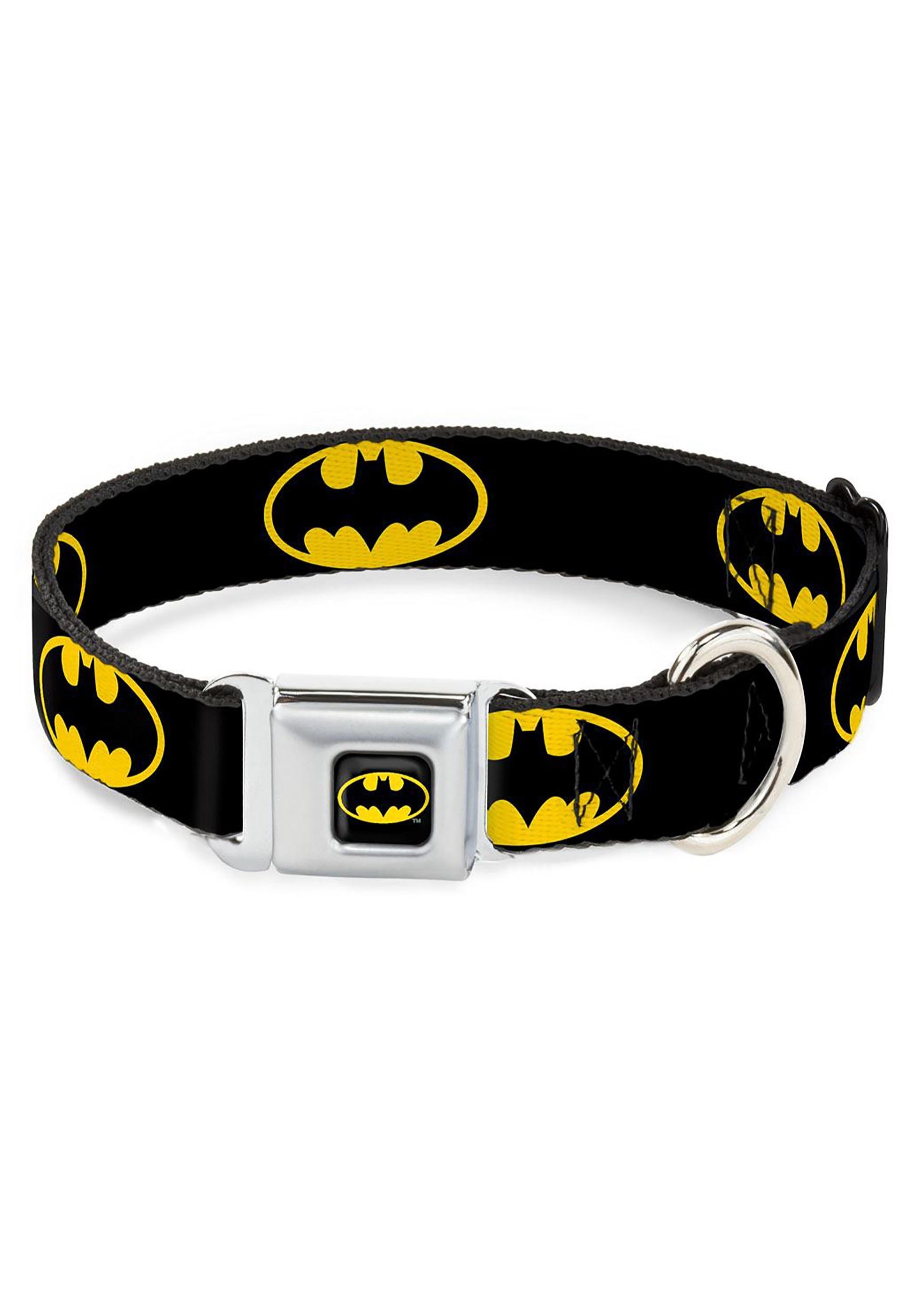 Batman Logo Black Seatbelt Buckle Dog Collar- 1