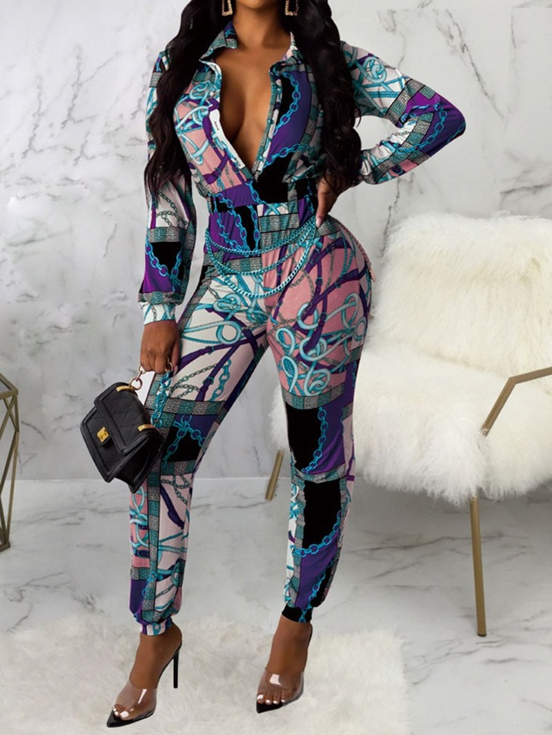 Ericdress African Fashion Dashiki Print Full Length Slim Jumpsuit