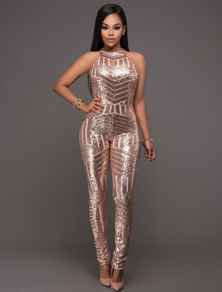 Milanoo Women Sequin Jumpsuit Champagne Backless Long Skinny Leg Partywear