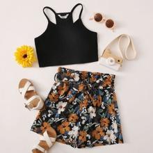 Girls Rib-knit Cami Crop Top & Paperbag Waist Belted Floral Shorts Set