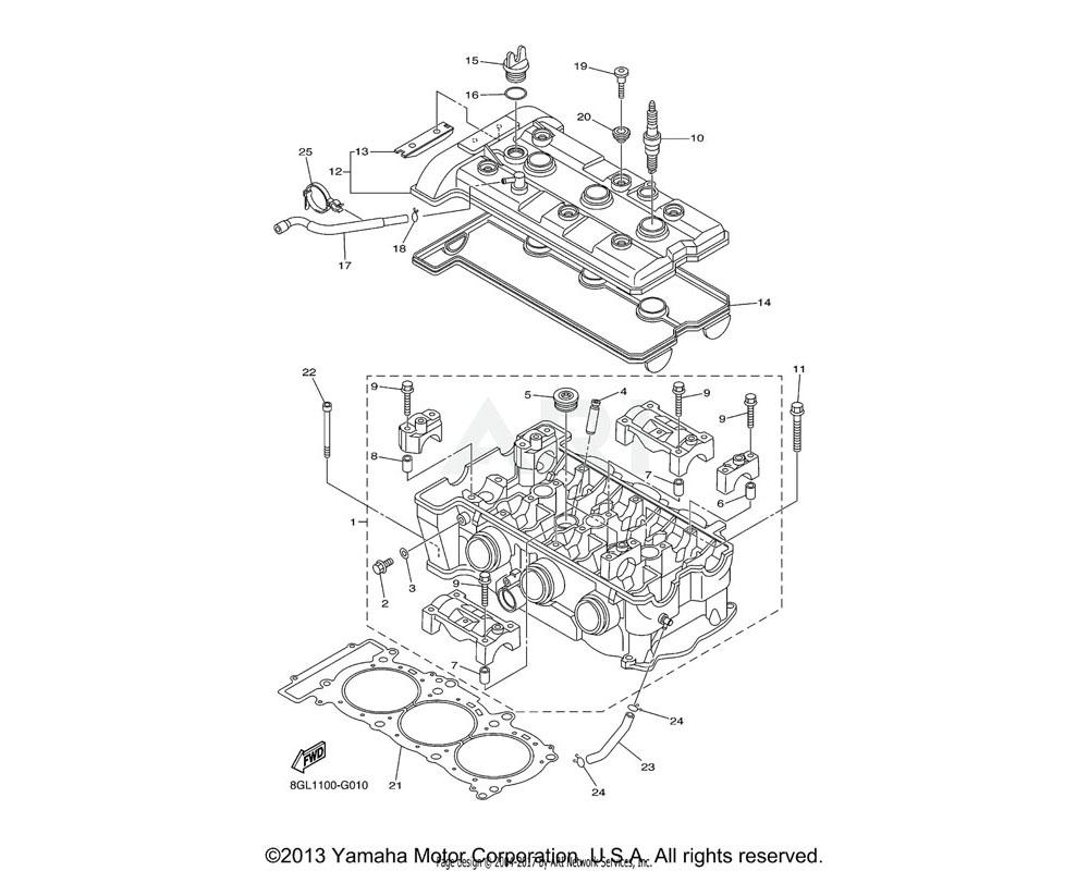 Yamaha OEM 8GL-11193-00-00 GASKET, HEAD COVER 1