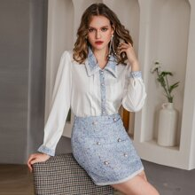Contrast Collar Blouse & Double Button Tweed Skirt Set