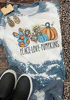 Thanksgiving Leopard Peace Love Pumpkins Bleached T-Shirt Tee - White