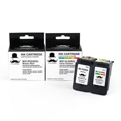 Compatible Canon PIXMA MG2500 cartouches encre noire et couleur de Moustache, ensemble de 2 paquet - haut rendement