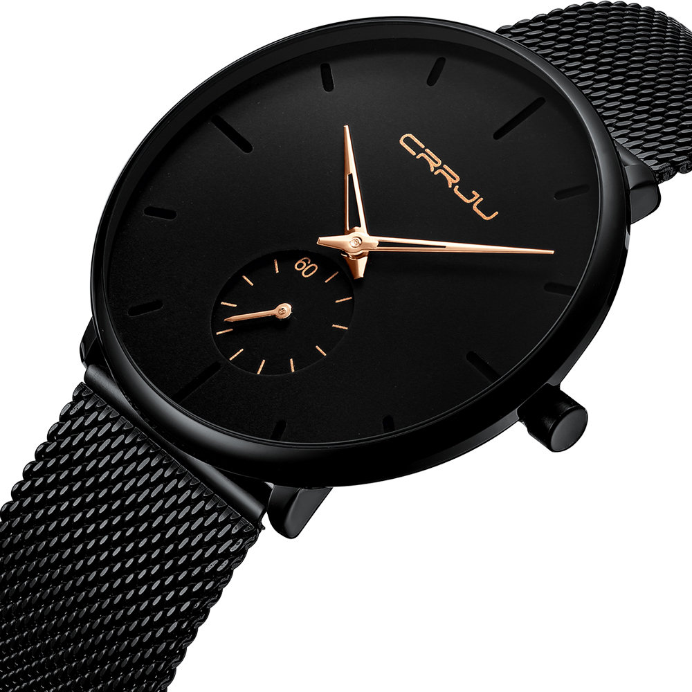 Fashion Quartz Watch Simple Dial Bright Needle Waterproof Thin Men Quartz Watch
