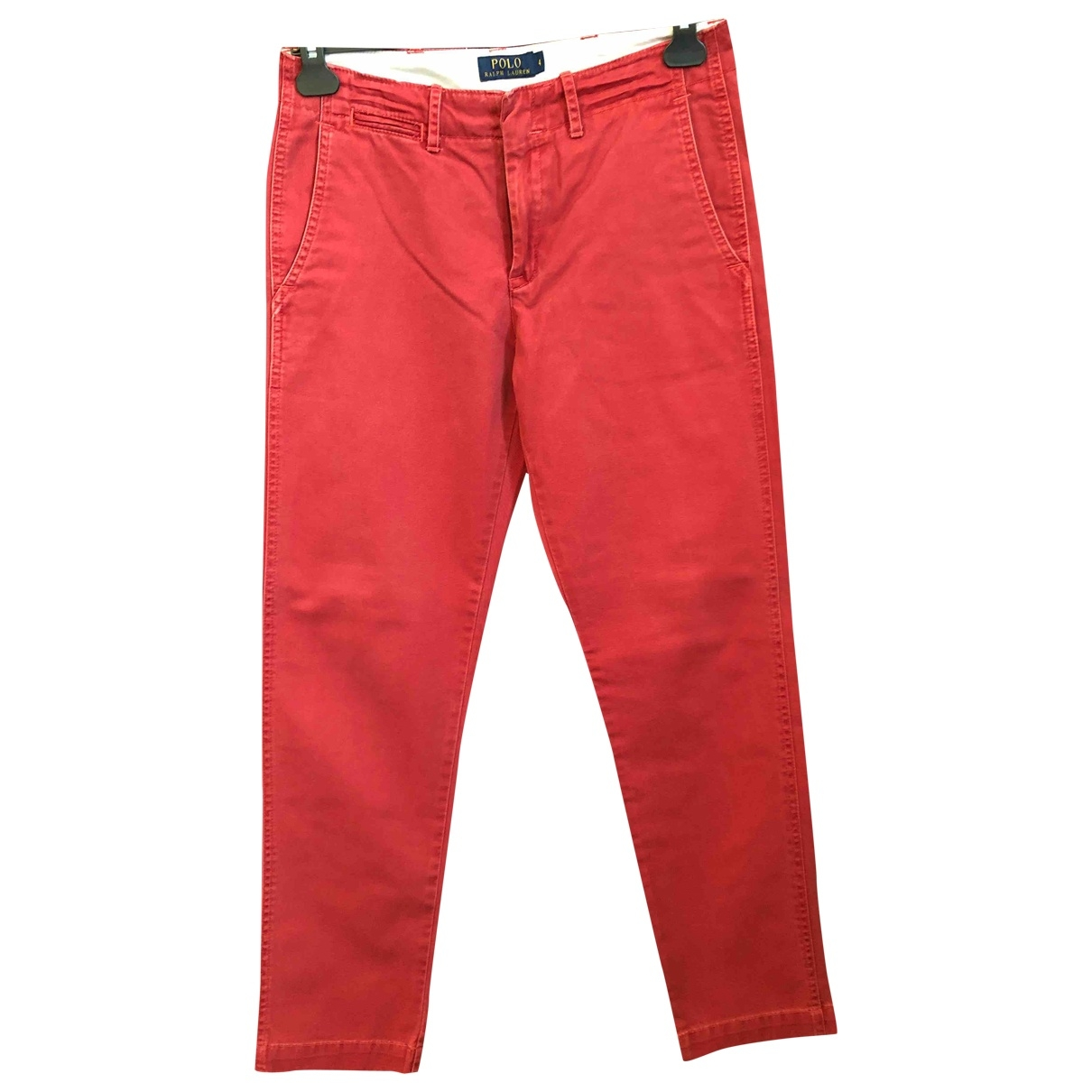 Polo Ralph Lauren \N Red Cotton Trousers for Women 4 US