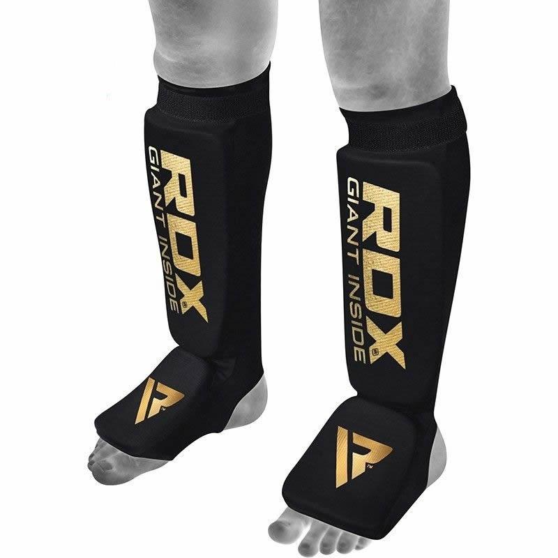 RDX SI MMA Shin Kick Protection Pads Hosiery Large Black/Golden