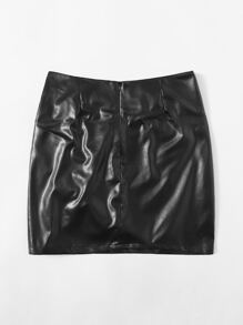 Ruched Detail PU Leather Skirt