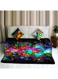 Colorful Bubbles Flying Pattern Super Soft Flannel Bed Blankets