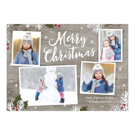 Gartner Studios® Personalized Christmas Sprigs Christmas Flat Photo Card | Michaels®