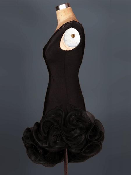 Milanoo Latin Dance Dress Organza One Shoulder Sleeveless Cut Out Irregular Ruffles Bodycon Latin Dance Costume