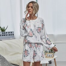 Floral Print Half Button Sweatshirt & Shorts