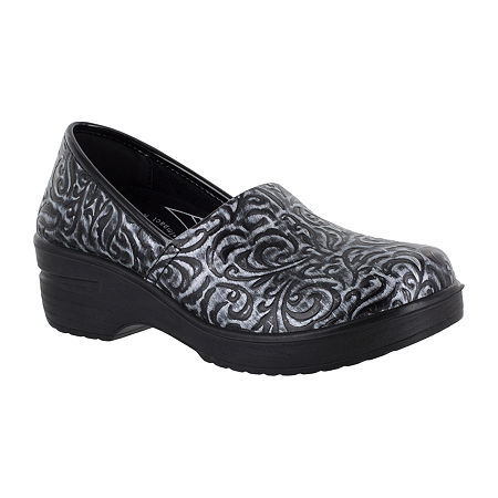 Easy Works By Easy Street Womens Laurie Round Toe Slip-On Shoe, 10 Wide, Silver