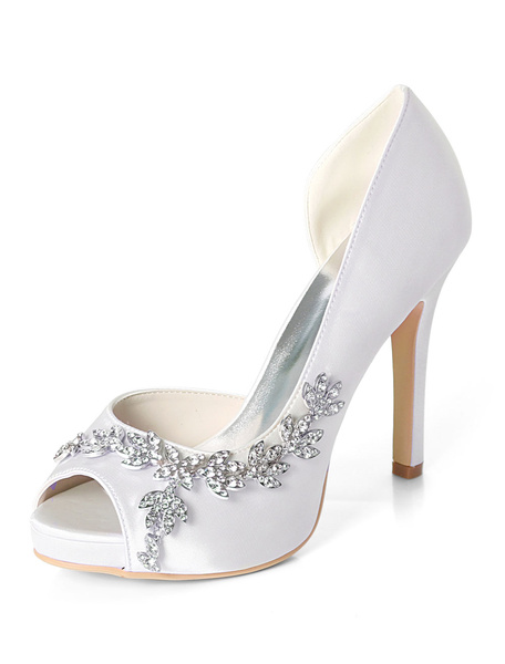 Milanoo Satin Mother Shoes Purple Peep Toe Rhinestones High Heel Wedding Shoes