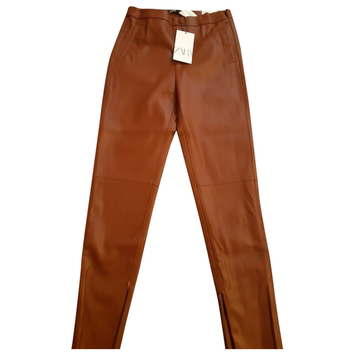 Zara \N Brown Leather Trousers for Women 32 FR