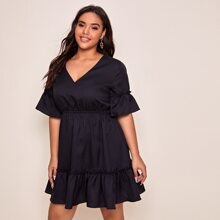 Plus Tied Open Back Ruffle Trim Dress