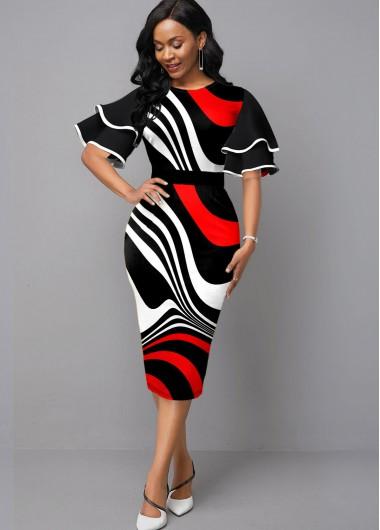 Red Dresses Ruffle Sleeve Stripe Print Contrast Sheath Dress - XS