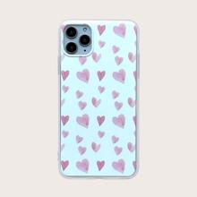 1pc Heart Print iPhone Case