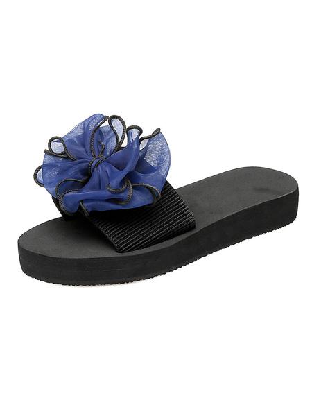 Milanoo Women Sandal Slippers White Bow Flip Flops Beach Sandals
