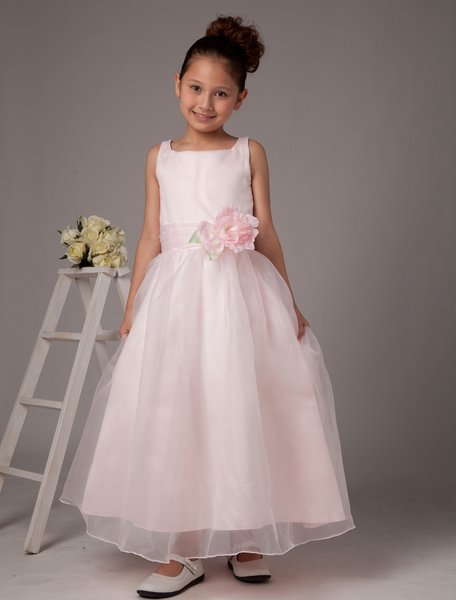 Milanoo Pink Flower Girl Dresses Flower Sash Organza Sleeveless Junior Bridesmaid Dresses