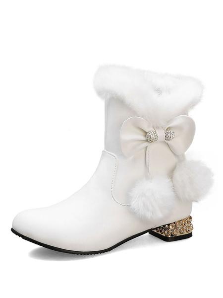 Milanoo Sweet Lolita Boots Pom Pom Bows Round Toe Pink Lolita Snow Boots