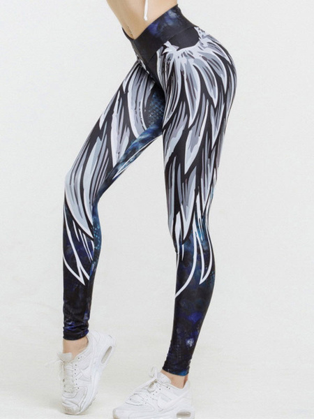 Milanoo Women Leggings White Printed Skinny Yoga Pants